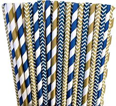 Amazon.com: Navy Blue and Gold Chevron and Stripe Paper Straws -Birthday Party Supply Wedding, Bridal Shower 100%Biodegradable 7.75 Inches Pack of 100: Kitchen & Dining