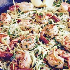 Garlic Basil Shrimp Zoodles - 21 Day Fix Approved