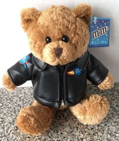 "M&M's Candy Plush Brown Teddy Bear Patch Jacket Logo M Stuffed Galerie 7.5"" New #Galerie  #m&m #plush #ebay"