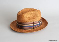 Vintage 1960s Hat : 50s 60s MENS Straw Fedora by RaleighVintage