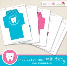 """FREE! Printable """"invoice for the tooth fairy"""" kit"""
