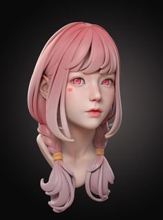Hi , this is a head practice I did with ZB. Polypaint in ZB is used for coloring. I hope you like it! 3d Model Character, Character Modeling, Character Concept, Character Art, 3d Modeling, Zbrush Character, Manga Illustration, Character Illustration, Tutorial Zbrush