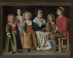 A Woman and Five Children, 1642 by by Louis Le Nain, Mathieu Le Nain and Antoine Le Nain (French)