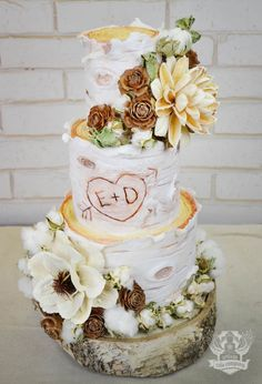 Rustic White cake with Ivory, Beige, and Bronze flowers