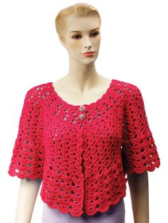Pamper yourself or someone you love with a pretty shoulder wrap or light jacket with sleeve length options.    Popular round-yoke styles are made with beautiful lacy stitches and can be fastened with buttons, ribbons or pins as desired. Perfect for daytime wear with dresses and tops, or as a bed jacket for a new mother or an elder loved one. Size S-5X. Made with soft worsted-weight yarn.