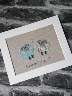 Sew A Gift Original textile art sheep sheep picture applique art - Freehand Machine Embroidery, Free Motion Embroidery, Free Machine Embroidery, Free Motion Quilting, Fabric Cards, Fabric Postcards, Sheep Cards, Fabric Pictures, Art Pictures