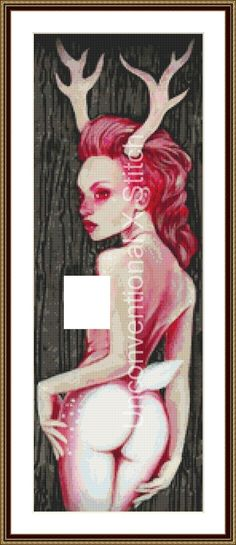 Nude deer woman cross stitch pattern - Deerly Departed - Lux Nova Studio Licensed by UnconventionalX on Etsy