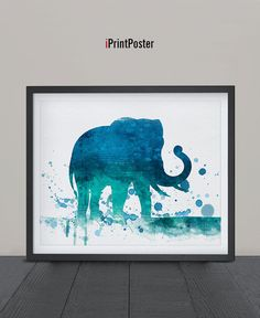 Elephant art print Watercolor poster Elephant by iPrintPoster