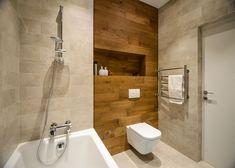 Fürdőszobában is alkalmazható a laminált padló falak, falrészletek díszítésére - jó szellőzés mellett, víznek nem közvetlenül kitéve