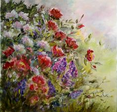 """""""WILD ROSES"""" 30x30 Worked in acrylics on a wrap around canvas............"""