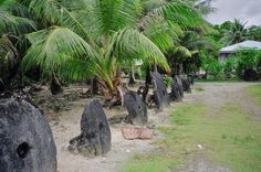 Everyone can admire the wealth of this village in Yap. Yes, these are coins, unique megalithic coins!