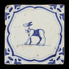 ¤ tiles of earthenware, depicting various animals within braces, with wing blade angle as motive, ca. 1620-1650 // tegels van aardewerk met tinglazuur, voorstellende verschillende dieren binnen accolades, met vleugelblad als hoekmotief, ca. 1620-1650