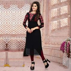Black Floral Embroidery Work Kurti