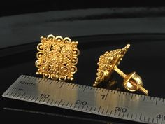 Gold Stud Earrings Grams, Indian, Kundan, Islamic, and Gold Jewelry in Atlanta and Online Gold Rings Jewelry, Gold Jewelry Simple, Jewelry Design Earrings, Gold Earrings Designs, Gold Jewellery Design, Stud Earrings, Gold Pendants For Men, Gold Mangalsutra Designs, Gold Ring Designs