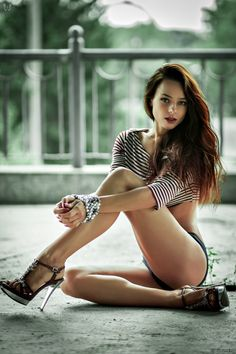 beautiful brunette model long legs relaxing fashion casual