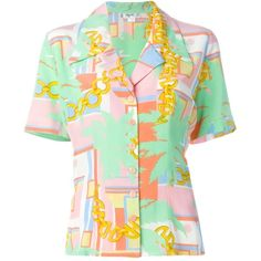 Céline Vintage Chain Print Shirt ($297) ❤ liked on Polyvore featuring tops, multicolour, green silk top, colorful tops, vintage shirts, vintage silk shirt and silk short sleeve shirts