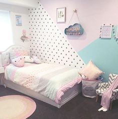 cute and girly bedroom decorating tips for girl 18 ~ mantulgan.me cute and girly bedroom decorating. Girls Bedroom Wallpaper, Girls Bedroom Colors, Girl Bedroom Designs, Kids Bedroom, Purple Teal Bedroom, Bedroom Ideas, Girls Room Design, Nursery Room, Girl Nursery