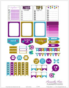 Free Printable Pleasantly Plum Planner Stickers from Vintage Glam Studio