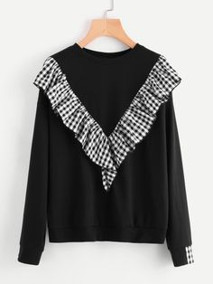 SheIn offers Gingham Ruffle Trim Pullover & more to fit your fashionable needs. Whimsical Fashion, Retro Fashion, Pullover Designs, Sweatshirt Refashion, Oversized Dress, Vestido Casual, Dance Fashion, Ruffle Trim, Cute Tops