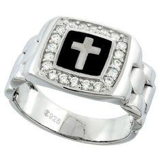 Mens Sterling Silver Cubic Zirconia Cross Ring Square Black Onyx 1/2 inch wide, size 13, Men's