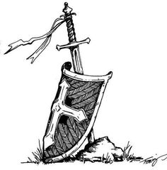 Original drawing of shield resting against a planted sword. Completed with black ink in Sword and Shield original God Tattoos, Warrior Tattoos, Future Tattoos, Tatoos, Espada Tattoo, Armor Of God Tattoo, Norse Tattoo, Viking Tattoos, Escudo Viking
