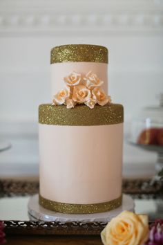 gold + pink sparkly cake