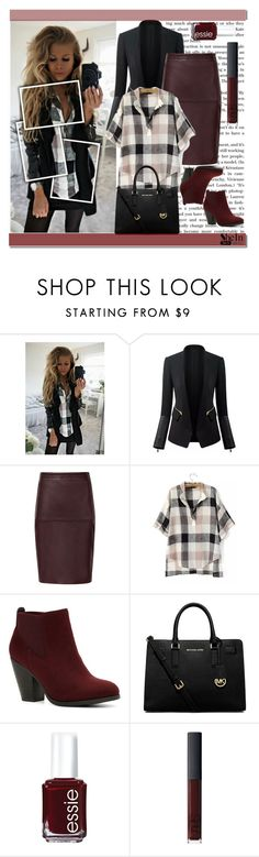 """""""Black Beige V Neck Blouse - SheIn"""" by cherry-bh ❤ liked on Polyvore featuring Call it SPRING, MICHAEL Michael Kors, Essie, NARS Cosmetics and shein"""