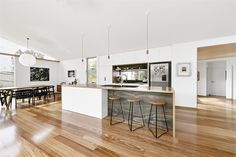 From Grand Designs Austraila Beach House Kitchens, Home Kitchens, Kitchen Ideas Australia, Grand Designs Australia, In Law House, Kitchen Cupboard Doors, Open Space Living, Living Spaces, Will Turner