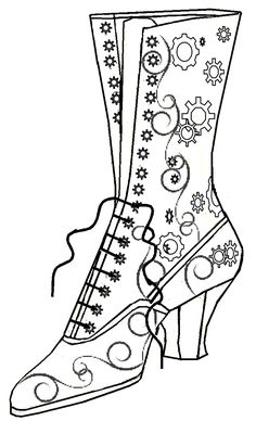 Steampunk Boot Line Art Cross Stitch Embroidery, Embroidery Patterns, Hand Embroidery, Wedding Embroidery, Parchment Craft, Shoe Art, Mosaic Patterns, Coloring Book Pages, Copics
