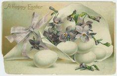 Easter/ vintage card/ eggs & purple flowers