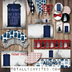 DOCTOR WHO Instant party! DIY Printable party decorations. Everything you need! Tardis Dr. Who Wedding - birthday - baby shower
