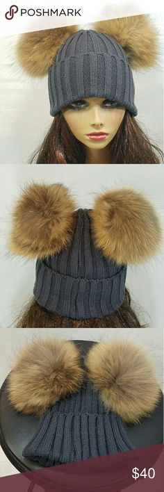 🆕Celebrity Favorite Double Fur Pompom Hat Grey Incredible style for the fall & winter season! Genuine racoon fur double pompom knit hat in dark grey. 100% acrylic. Super warm and very good quality. Similar style as seen on many celebrities such as Beyonce, Kylie and Kendall Jenner, and Khloe Kardashian.  Price is FIRM. Save 20% off 2+ items. Thanks for looking. Feel free to ask any question! Accessories Hats