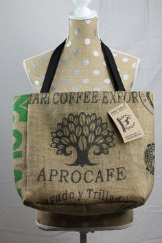 AproCafé Bean Tree Tote Bag Coffee Sack, Upcycled, Repurposed, Recycled