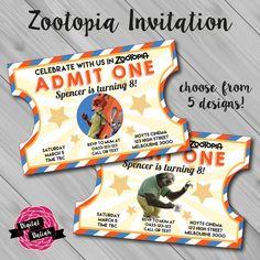 Zootopia Vintage Movie Ticket Style Invitation. by DigitalDaliah