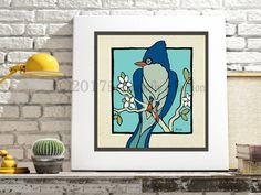 Artist Shanni Welsh's Blue Jay Bird art print.  Blue Jay bird poster. Woodland blue jay.