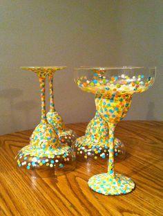 Hand Painted Summer Margarita Glasses -Set of 4