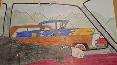 Drawing Opel Kadett Rekord Diplomat Kapitän Hot Rod Race Custom Rockabilly Leather Jacket Skull Oldtimer Oldschool V8