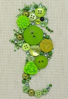 Green Seahorse Button Art Vintage Buttons by PaintedWithButtons