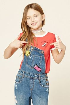 """Forever 21 Girls - A knit tee featuring an embroidered """"Roll With Me"""" and a flying skate graphic on front, contrast trim, a round neckline, and short sleeves. Girls Fashion Clothes, Tween Fashion, Moda Fashion, Little Girl Fashion, Fashion 101, School Fashion, Fashion Outfits, Tween Clothing, Style Outfits"""
