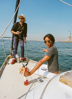 Gorgeous interracial couple enjoying a boat ride in New York Harbor #love #wmbw #bwwm