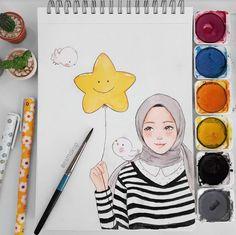 ❤ Cute Illustration, Watercolor Illustration, Watercolor Art, Cartoon Drawings, Cartoon Art, Cute Drawings, Hijab Drawing, Islamic Cartoon, Anime Muslim