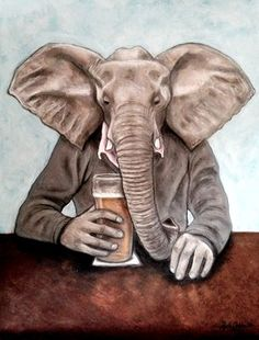 Elephant with a Pint of Lager - acrylic paint and pastel Elephant, Pastel, Gallery, Artist, Artwork, Animals, Painting, Cake, Work Of Art