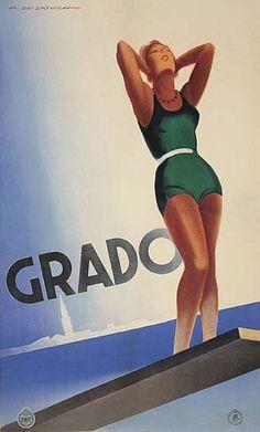 ✔️ Grado - Friuli - Italy - By Marcello Dudovich (1878-1962), 1933,