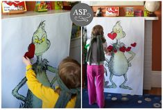 Pin the Heart on the Grinch party game. This was for a birthday party but it's perfect for Christmas time party.