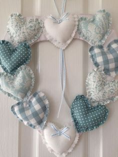 Heart Garland/Wreath ~ Laura Ashley Duck Egg & White ~ Shabby Chic in Home, Furniture & DIY, Home Decor, Other Home Decor   eBay
