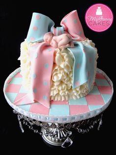 """@KatieSheaDesign ♡❤ #Cakes ❤♡ ♥ ❥ Baby Bow """"Gender"""" Cake"""