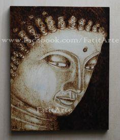 Buda em quadro pirogravado. www.Facebook.com/FatitArte