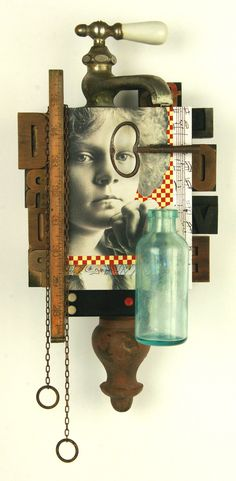 """Robert Lathim (American, male, b. 1958) """"Love on Tap,"""" 2014, 14 x 8 x 7 in., Mixed Media. Lathim's sculptural pieces use vintage objects and photographs. Often these pieces tell stories or allow the viewer to create their own stories based on their life experiences, creating a type of reinvention of the past. When discussing his artistic process, Lathim states, """"The faces and eyes of these people literally speak to me and assembling is often a process of channeling these people."""""""