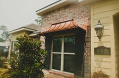 copper awning for window on bump out of front of house Copper Awning, Window Detail, Exterior Trim, Wood Detail, Arbors, Wood Trim, House Front, Entry Doors, Curb Appeal