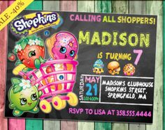 Invitación de la pizarra de Shopkins invitación por DecorationsLeon